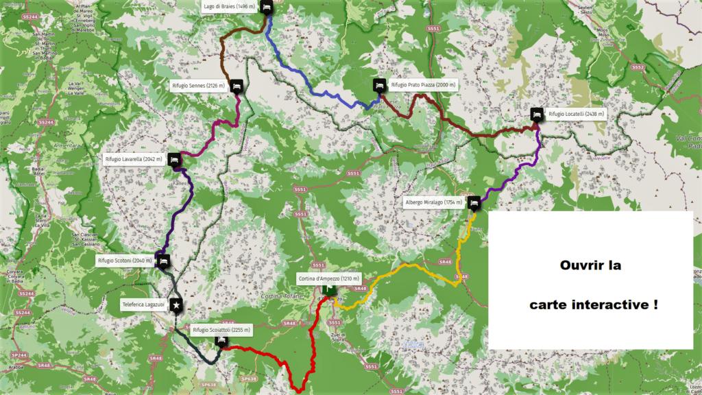 Dolomites - trekking en 9 étapes - vue aérienne