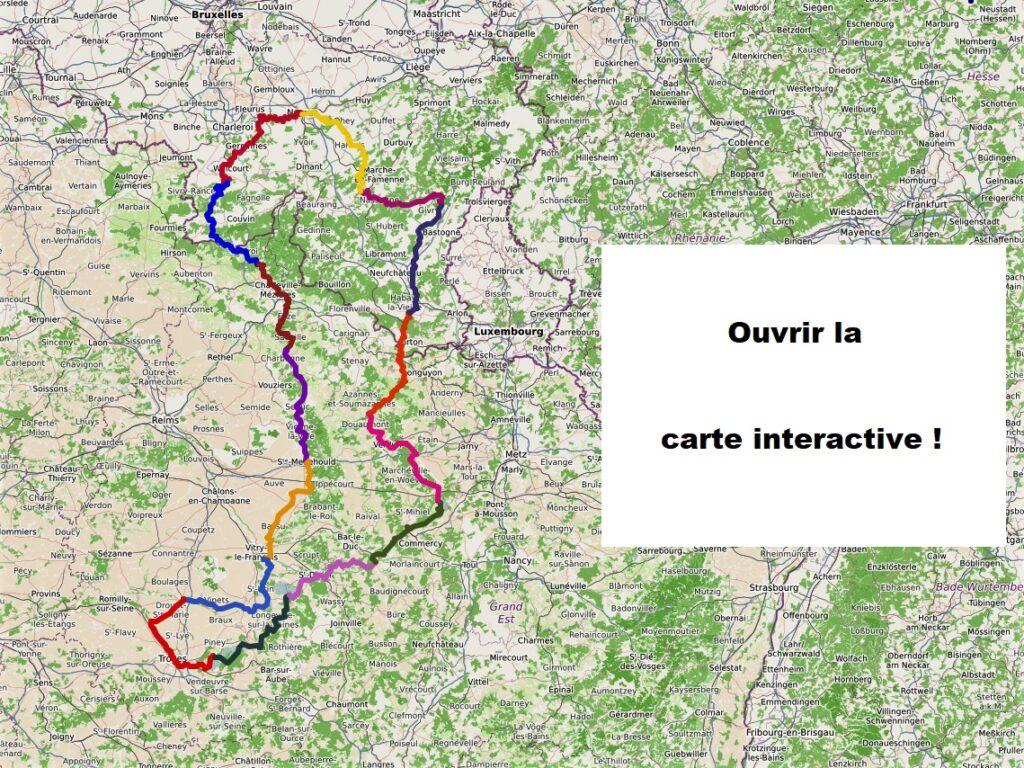 Ardennes, Champagne, Lorraine à vélo : carte interactive