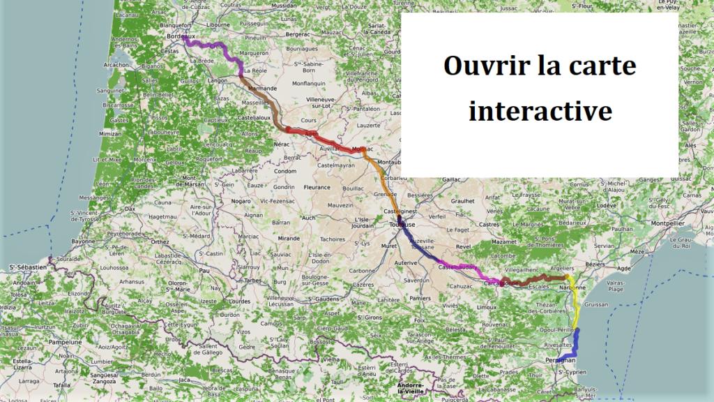 Bordeaux - Perpignan à vélo - carte interactive