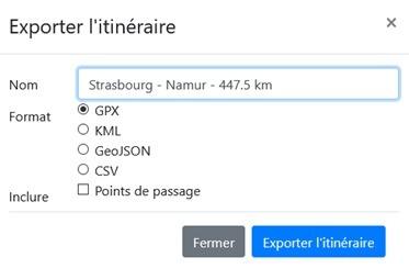 Fonction export d'un itinéraire rando pour GPS