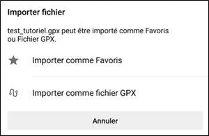 Fichier avec des points d'intérêt dans OSMAnd importer comme favoris