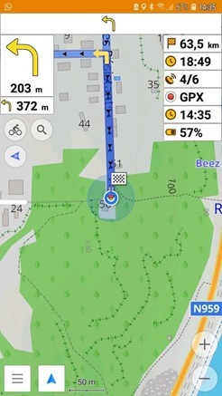 Navigation avec OSMAnd guidage