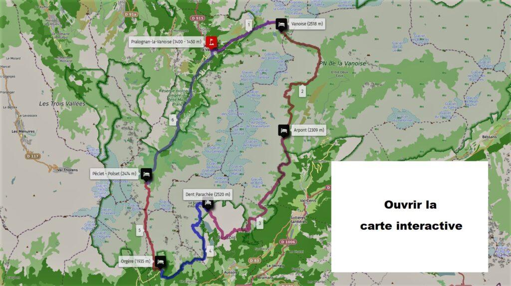Tour des glaciers de la Vanoise - Carte interactive